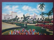 POSTCARD USA FLOWERS BEDS IN BAYFRONT PARK MIAMI FLORIDA C1953