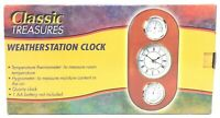 Classic Treasures Weather Station Quartz Clock w/ Thermometer & Hygrometer READ