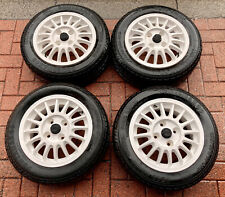 Set Of Classic Audi 80 Alloy Wheels With Tyres 4x100 White 6Jx14ET45 Dated 1985