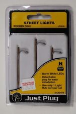 "Woodland Scenics ""Just Plug"" Lighting 5638 * N Scale Wooden Pole Street Lights"