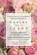 Engagement Wedding Invite Invitation Party Peony Flowers Floral Peonies Pink