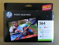HP 564 Cyan Magenta Yellow Original Genuine Ink Cartridges & 85 4x6 Photo Paper