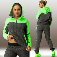 Womens Tracksuit Sportswear Zip Sweatshirt Coat Pants Hoodie Set Running Jogging