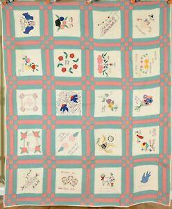 Vintage Family Album Antique Quilt w/ Appliqued Birds, Flowers, Names & d. 1942!