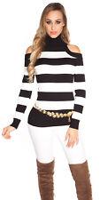 Sexy Shirt Pullover Rollkragen Rolli Schulterfrei Cut Out Schwarz Weiß 34 36 38