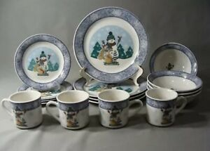 """16 Pcs Gibson Dinnerware Set In The """"Let It Snow"""" Pattern"""