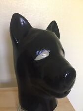 BLACK LATEX Rubber PUP HOOD w/ ZIP