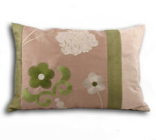 Bloomsbury Floral Embroidered Green Cushion Cover 35 x 50