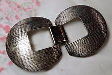 ANCIENNE BOUCLE DE CEINTURE chrome téxturé 18cm / 6cm VINTAGE Buckle C2 E