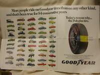 """Vintage 1969 Goodyear Advertising Poster Tires 21"""" X 13 1/4"""" Chevy Ford Plymouth"""