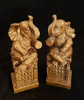 Vintage Pair Composite Elephant Bookends Gold Toned | Sitting, Reading Books A+