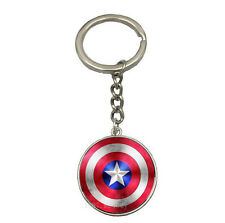 Vintage Glass Cabochon silver Matal Car Key chain ring pendant(Captain America)
