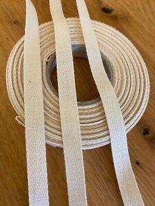10 Meter Köperband - Nahtband - Baumwolle Baumwollband - Rohweiss in 10 mm Breit