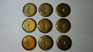 NINE VINTAGE BRASS WALL SWITCH PLATES COVERS