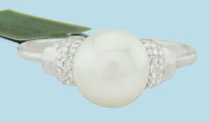 GENUINE WHITE PEARL & SAPPHIRES RING .925 Silver ** NEW WITH TAG ** Size 6