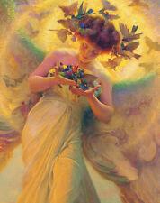 Bird Postcard: Vintage Print Repro - Angel of the Birds - Colorful angel