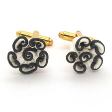 GEMELLI in fimo BOUQUET fiori bianco nero # Black and White Flowers Cufflinks