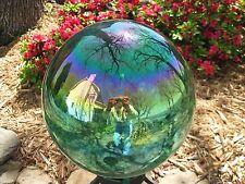 """Gazing Ball New Glass Globe 10"""" Teal Green Iridescent"""
