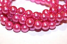 100pc 8mm Pink Loose-Glass Beads 1-3 day Shipping