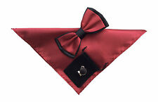 Mens Plain Bow Tie Handkerchief and cuff links set Burgundy Black  No20