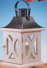 Candle Lantern Antique Colonial Style  White Wood (H8015)