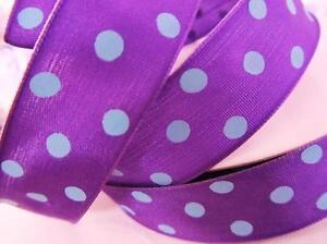 "10 yards Color Polka Dot 7/8"" Ribbon/Polyester/Craft/Halloween R51-Purple/Blue"
