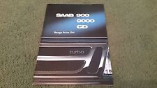 Oct 1988 / 1989 Model SAAB CD 9000 + 900 inc TURBO 16 16S PRICE LIST UK BROCHURE