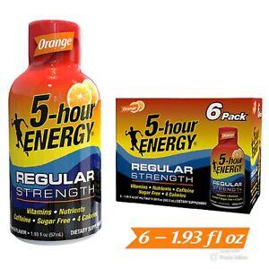 5 Hour Energy Energy Shots, Orange, 6 Count | Regular Strength