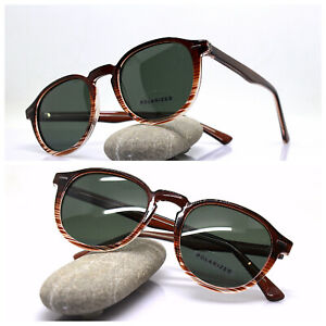 Sunglasses Men Woman Vintage Oval Brown Banded Lens Green Polarized