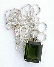 4.45 Carat 12x10 Emerald Moldavite Gemstone Sterling Silver Pendant Chain ES3160