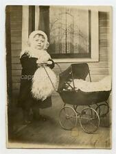 1900s Antique Photo Super Cute Kid Girl Snow Bunny Wool Fashion Doll Carriage