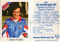 """RARE !! MICHEL PLATINI Vignette """"EQUIPE DE FRANCE 92"""" Panini VACHE QUI RIT"""
