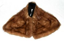 Vtg 50s Brown Striped Mink Fur Collar Scarf with Black Faux Persian Lamb Lining