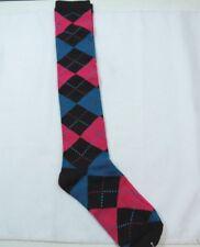 Woman's Argyle Black Blue Dark Pink Knee High trouser socks Size 9-11 R