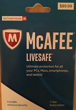 2017 McAfee LiveSafe Includes AntiVirus, 1yr Subscription, Retail $89