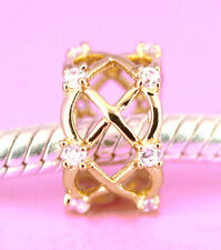Genuine SOLID 9CT 9K GOLD Garden Fence BEAD with 12 CZ For Charm Bracelet /Chain