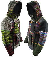 Men's Woolen Patchwork Knit Zip Fleece Lined Kangaroo Pouch Warm Jacket Hoodie