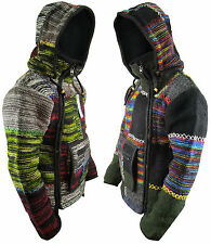 Men's Woolen Patchwork Knit Zip Fleece Lined Kangaroo Pouch Warm Jacket Hoodie