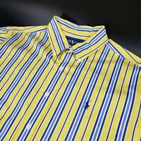 Polo Ralph Classic Fit Long Sleeve Yellow Blue Striped Button Down Shirt Mens XL