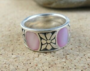 Pink Mother of Pearl Inlay Flower Caribbean Shell 925 Sterling Silver Ring  #157