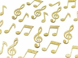 50 x Gold Glitter Musical Note Table Confetti Scatter Wedding Party, Music Clef