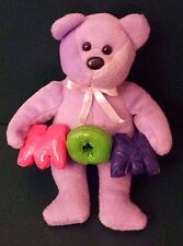 "Plush Purple Teddy Bear Holding the Letters ""MOM"" or ""WOW Upside Down"