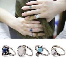 set Rings signet rings 4 pcs Boho Punk Ring Rhinestone Opal Turquoise Midi rings