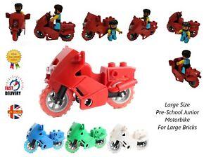 Motorcycle Large Building Brick Vehicle Accessory Motorbike PreSchool Fits Duplo