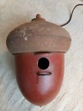 """Pedco Vintage Acorn Birdhouse Brown and Red Molded Plastic 10"""" High 7"""" Across"""