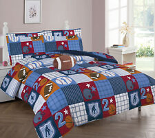 ALL SPORTS PATCHWORK COMFORTER BED SHEET SET WINDOW PANEL VALANCE KIDS TEENS