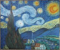 """VAN GOGH Starry Night Reproduction FINE Hand Painted Oil Painting 24.25 x 20.25"""""""
