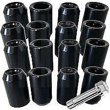 16x Ford Black Tuner Wheel Nut Nuts M12x1.5 60d Tapered Seat, Focus, Fiesta