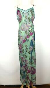 Victoria's Secret Green Silk Floral Gown Dress Sheer Bias Cut Size L