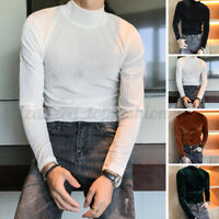 Men Long Sleeve Turtle Neck Velvet Casual T Shirt Slim Fit Thermal Underwear Top